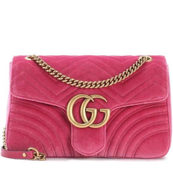 a7a6850eb67 Gucci Marmont Med Velvet Raspberry Crossbody Bag